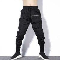 #2323 Autumn Winter Black Pleated Pencil Harem Pants Men Plus Size HipHop Pants Mens With Big Pockets Zipper Korean Streetwear