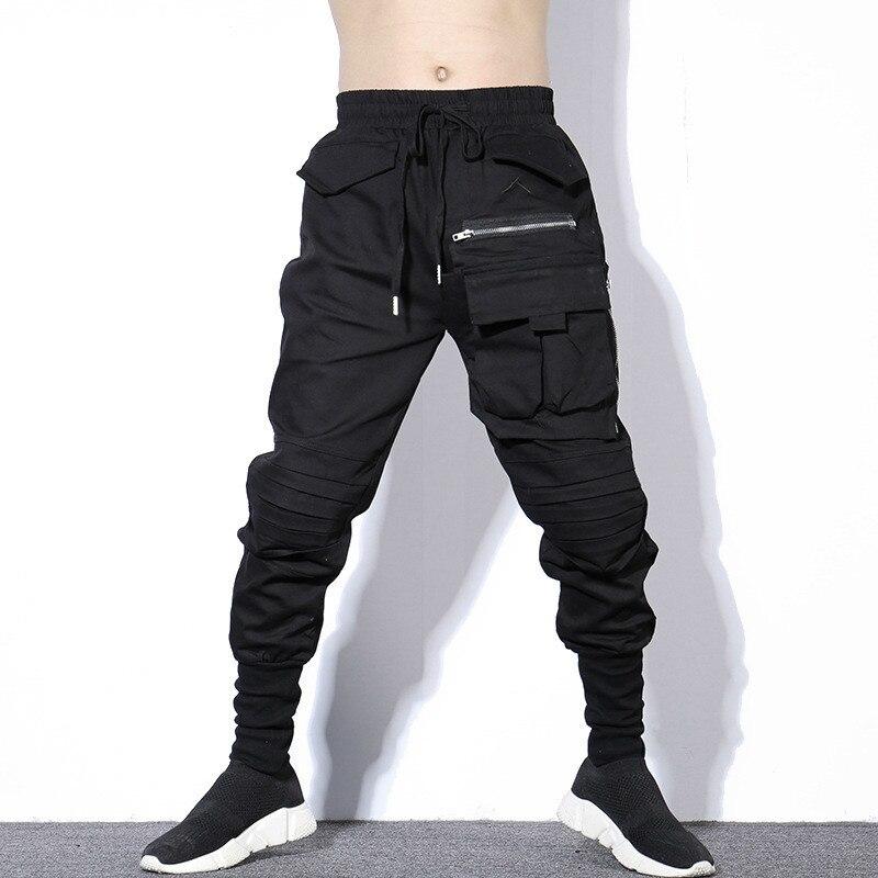 #2323 Herbst Winter Schwarz Plissee Bleistift Harem Hosen Männer Plus Größe Hiphop Hosen Herren Mit Großen Taschen Zipper Koreanische Streetwear SchöN In Farbe