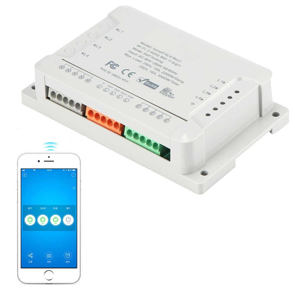 4CH 4 Gang Way Sonoff inteligentny pilot bezprzewodowy moduł przełączający inteligentnego domu z czasu dla iOS Android 3500 W AC 110 v-220 v