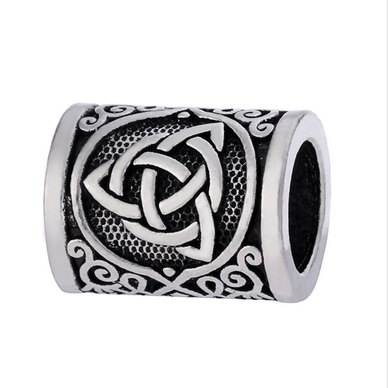 Fashion 1pcs Antique Silver Round Bead Viking Knots Runes Beads for Beard Hair Paracord Pendant Bracelets DIY Finding in Beads from Jewelry Accessories