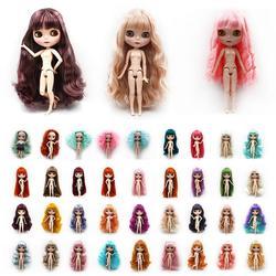 30cm grandes olhos do bebê corpo comum boneca brinquedos com cachos retos coloridos cabelo moda bonecas crianças presente da menina do bebê brinquedos nude diy