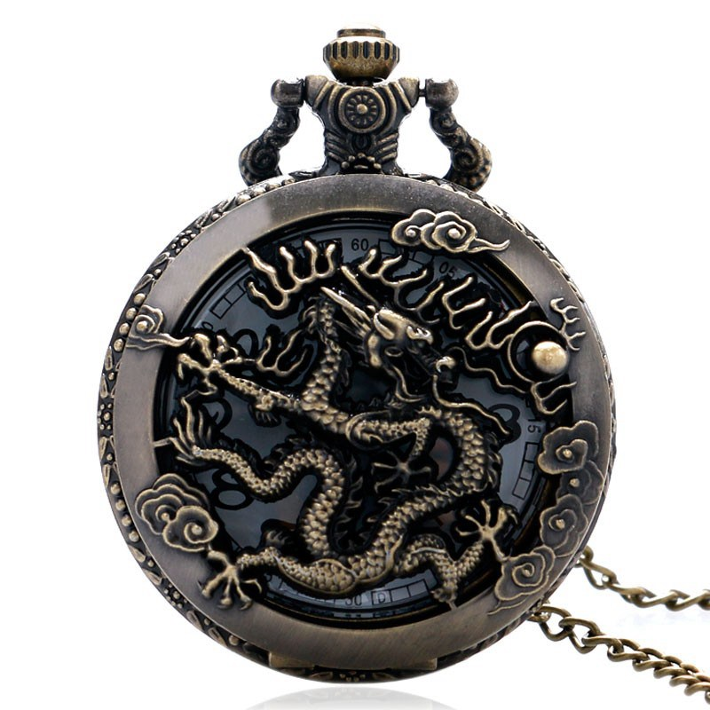 Large Bronze Embossed Hollow Classic Chinese Dragon Xiangyun Cloud Pocket Watch Ancient Wind Dragon In The Sky