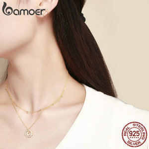 Image 3 - BAMOER Authentic 925 Sterling Silver Sunny Shape Geometric Necklaces Pendant & Earrings Jewelry Set Fine Jewelry Making Gift