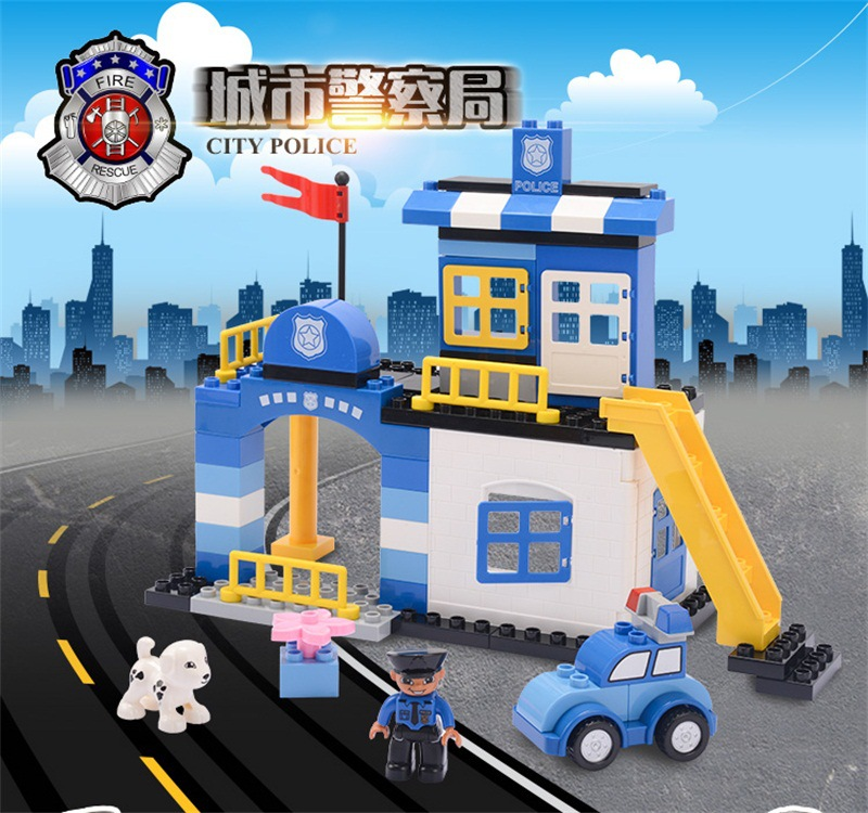 Diy City Police Scene Building Blocks Bricks Toys for Children Compatible with Legoiingly Duploe Christmas Gifts Education Toys solar electronic building blocks children s electrical science and education diy toys christmas gift