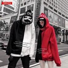 คุณภาพสูงเย็บคู่ชายและหญิงคู่Hoodiesเสื้อสำหรับผู้ชายHood Harajuku High StreetหลวมStreet Wear