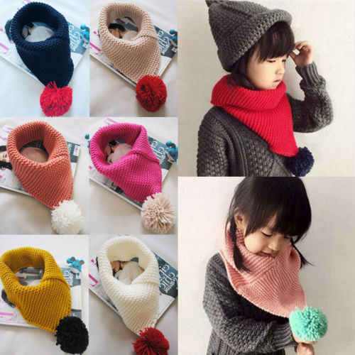 Winter Fall Warm Scarf Kids Girls Snood Shawl Ring Neck Wraps Knit Scarves