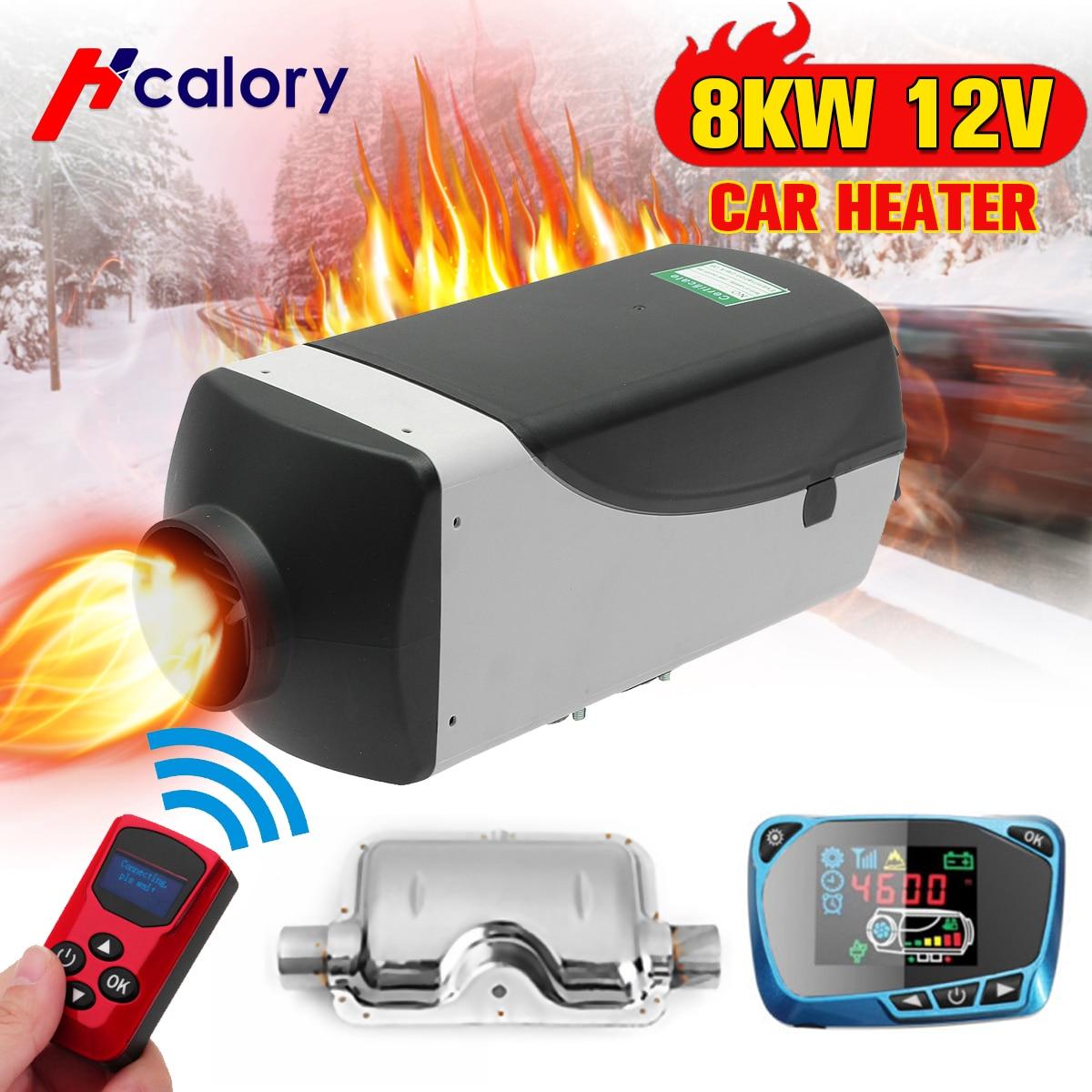 8000 W Air diesels chauffage 8KW 12 V voiture chauffage pour camions camping-cars bateaux Bus + LCD moniteur commutateur + télécommande + silencieux