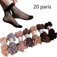 20pairs-Transparent Summer Sexy Ultrathin Crystal Silk Black Socks for Women High Elastic Nylon Short Female Rajstopy