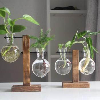 Plant Glass Vases Transparent Vase Wooden Stand Flower Pot for Flower Plants Bonsai Home Desk Wedding Decoration 1