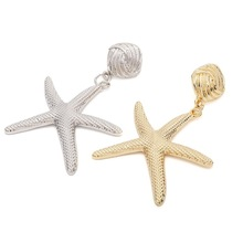 2019 Summer Elegant Gold Color Starfish Earrings Alloy Ocean Sea Star Drop Earrings Women Jewelry Gifts gold color with star hotpink butterfly star drop earrings