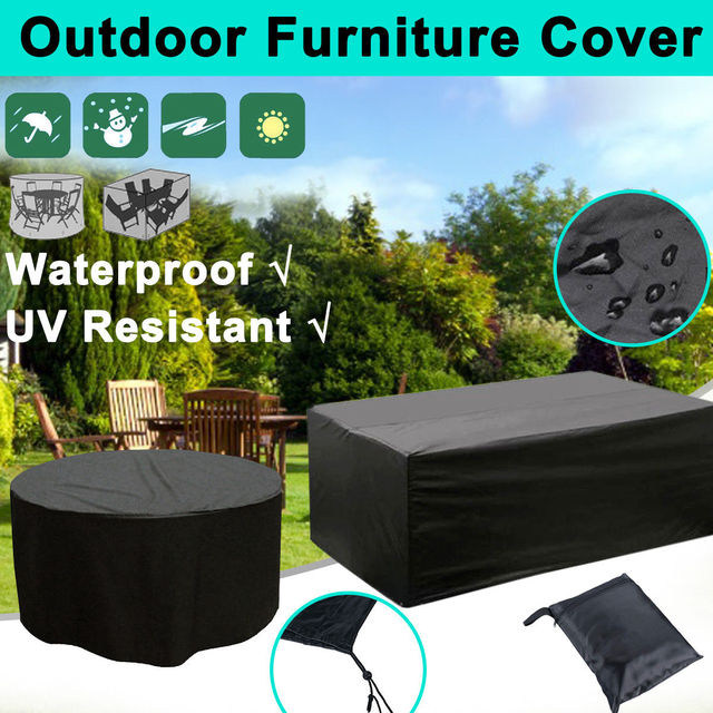 5 Size Outdoor Garden Furniture Cover Waterproof Oxford Fabric Sofa Protection Set Patio Wind Rain Snow BBQ Dustproof UV Black