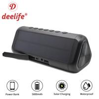 Deelife Bluetooth Speaker Waterproof Portable Speakers Wireless Powerful Solar Stereo Music Loudspeaker Box AUX Outdoor Column