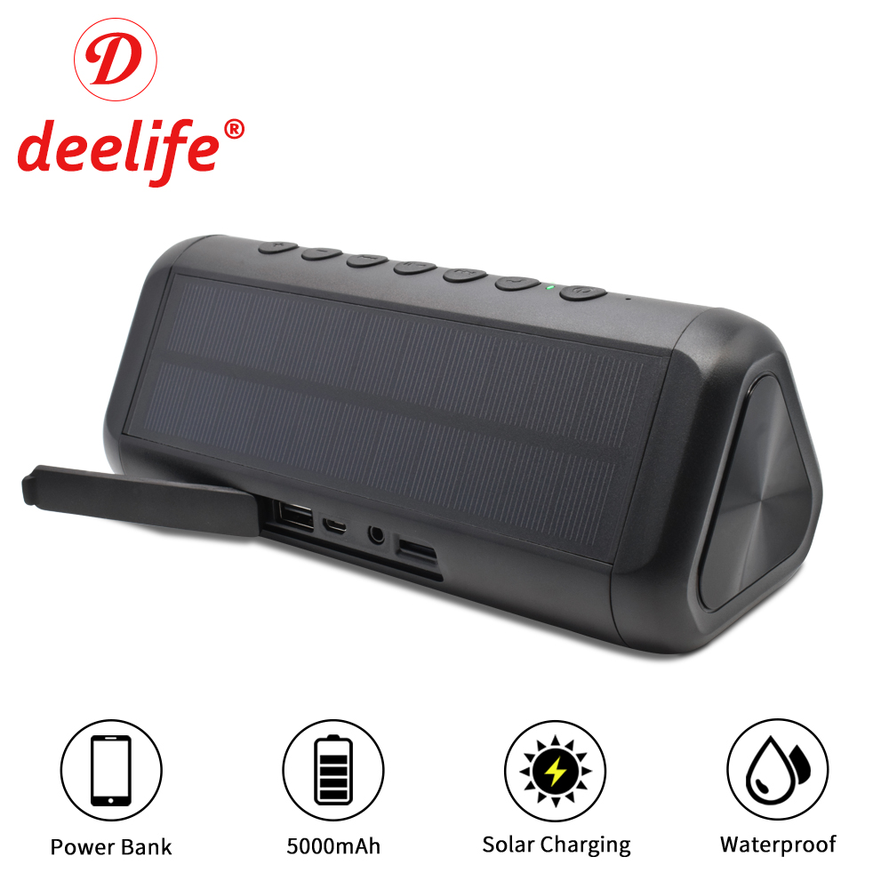 Deelife Waterproof Bluetooth Speaker Portable Column Solar Powerful Wireless Stereo Music Loudspeaker Box AUX Outdoor Speakers