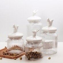 Transparent Glass Bottles, Jars, Seal Grain Storage Kitchen Spice Jar Cans Organization