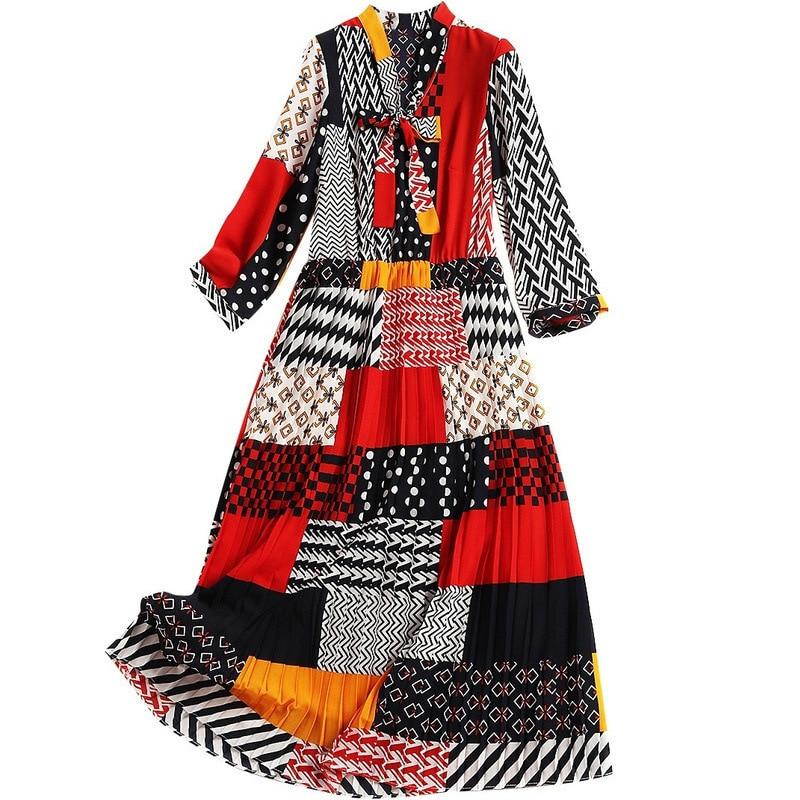 Jc2768 Printemps Robes Print Arc Taille Soie Stretch 2019 De Plissées Imprimer Col 4 Mélangée Manches 3 Nouvelle Mousseline Haute Robe Couleur HqTwwxdX