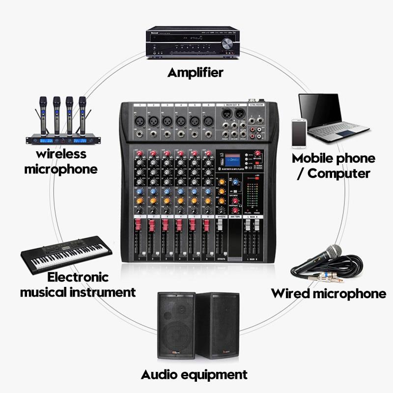 Профессиональная студия Аудио Звук микшерный пульт bluetooth USB Запись Воспроизведение компьютера Phantom Мощность эффект 6 каналов аудио смесител...