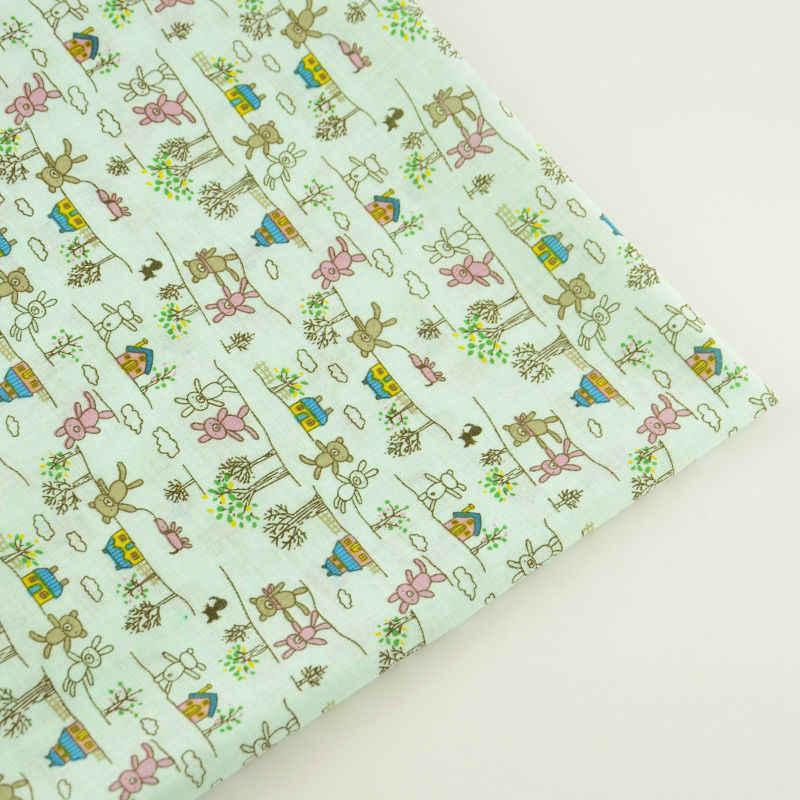Tecido Cartoon Lovely Bears Design Plain Scrapbooking Dolls Light Green Cotton Fabric CM Patchwork Tela Home Textile Cloth Dress