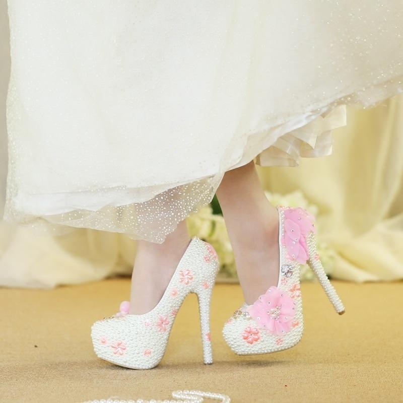 Encaje Zapatos Color Rosa De Perlas Para Novia Cristal Boda Novia La Con YYSRgq