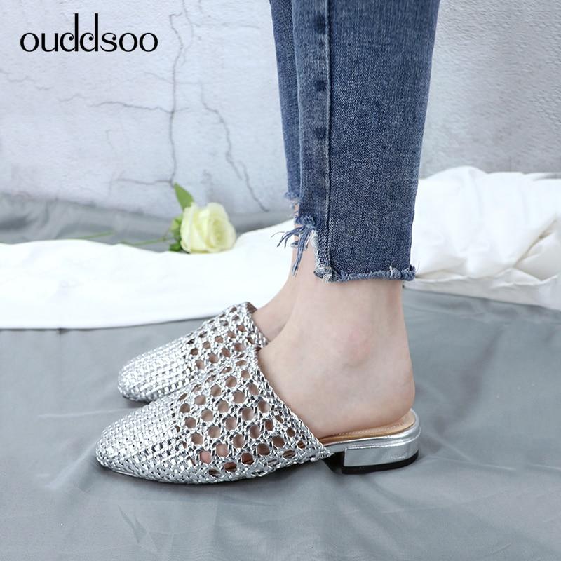 silver Slip Zapatillas Aire Trabajo Zapatos Libre Las Mujer khaki Al on Huecos Pisos 2019 La Black Mujeres Dama Remache Mulas Planos Damas De Para Sandalias Verano RTaISqfx