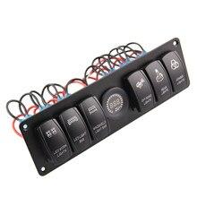 Disjoncteur de panneau pour voiture RV | Circuit de bateau Marine RV, interrupteur à bascule, voltmètre pour voiture RV bateau lumière colorée 6 gangs