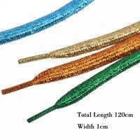 Cordones coloridos para zapatillas de deporte para hombre y mujer, 1 par de cordones de oro brillantes metálicos, zapato plano cordones para correr, 120cm