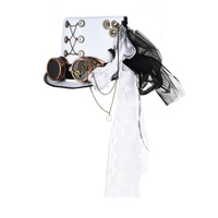 Vintage Steampunk Gear Glasses Floral White Top Hat With Goggles Punk Style Fedora Lace Headwear Gothic Lolita Cosplay Hat