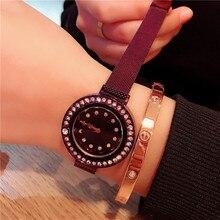 Drop Shipping Luxury Diamond Quartz Watch Delicate Waterproof Fashion Simple Black Steel Trap for Student