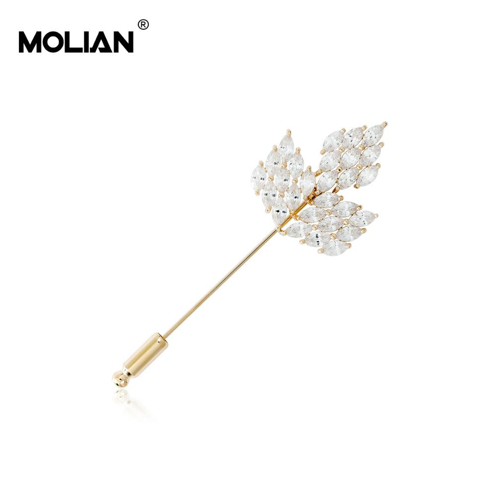 MOLIAN Maple leaf Brooch Cubic Zirconia Plant Simple Pins Silver Copper Classic broche Gold jewelry for women jewellery Gifts