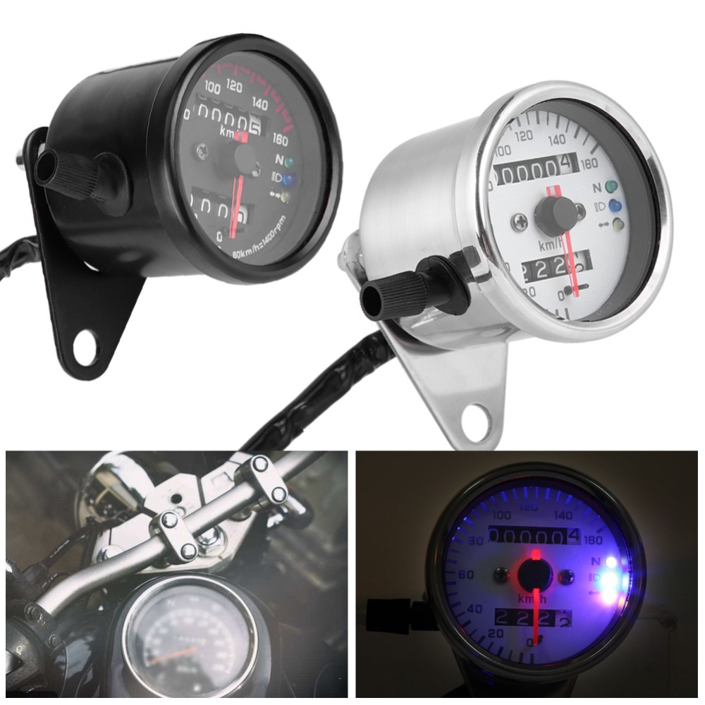 Universal Motorcycle Odometer Speedometer Gauge Signal Dual Digital Display KM/H Without Kege Metal For All Motorcycle DC 12V