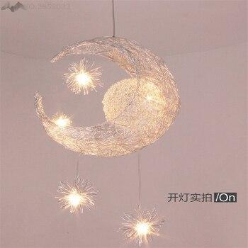 JW_Cute New Novelty Kid Children Room Light with Modern Pendant Light Lamp for Home Bedroom Living Room Moon Star Wicker Lamp