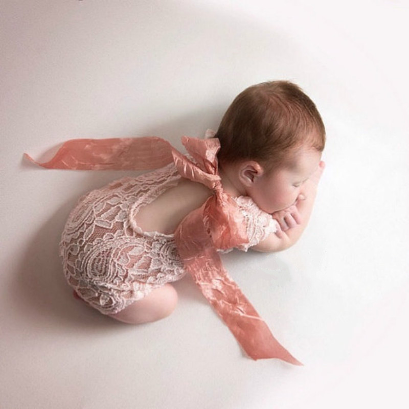 Newborn Baby Photography Props Accessories Baby Clothes Photography Romper Baby Girl Lace Jumpsuit Infant Photo Props Accessory