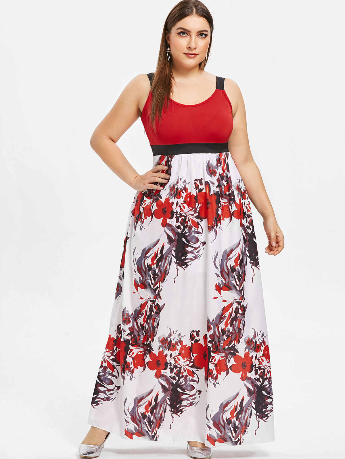 Wipalo Floral Print Plus Size Maxi