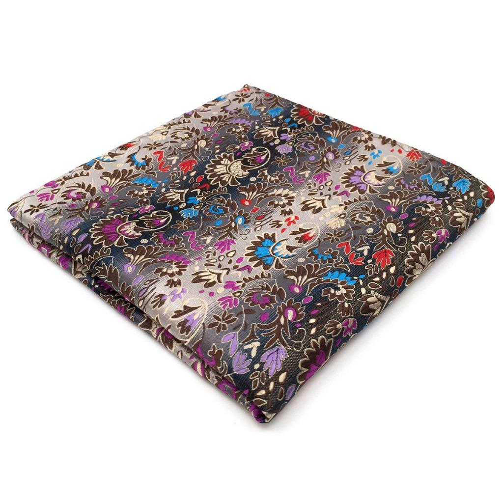 PH12 Floral Multicolor Mens Pocket Square Silk Fashions Dress Wedding Handkerchief Fashion