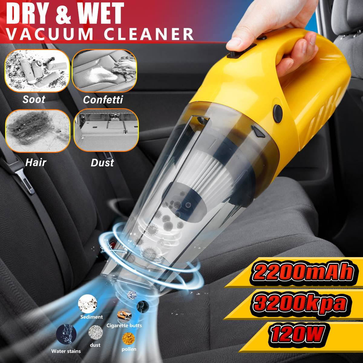 1200W High Power Car Vacuum Cleaner 5000pa Rechargeable Cordless Handheld Home