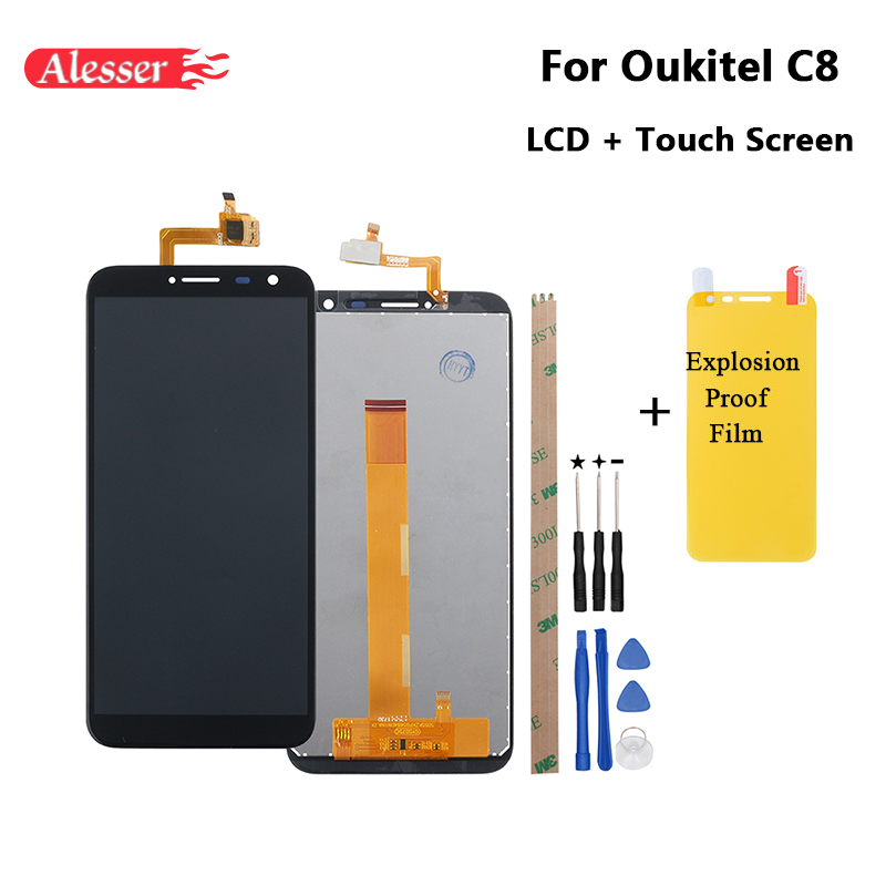 Alesser For Oukitel C8 LCD Display + Touch Screen 4G 5.5  Perfect Replacement Accessories For Oukitel C8 +Tools +Adhesive +Film