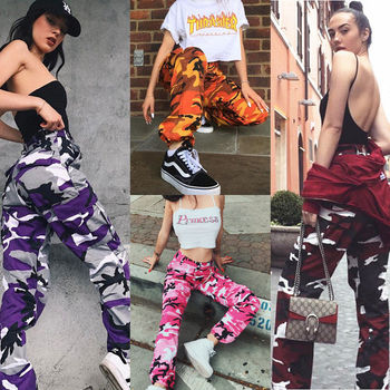 New Women Camo Cargo High Waist Hip Hop Trousers Pants Military Army Combat Camouflage Long Pants Hot Capris 4