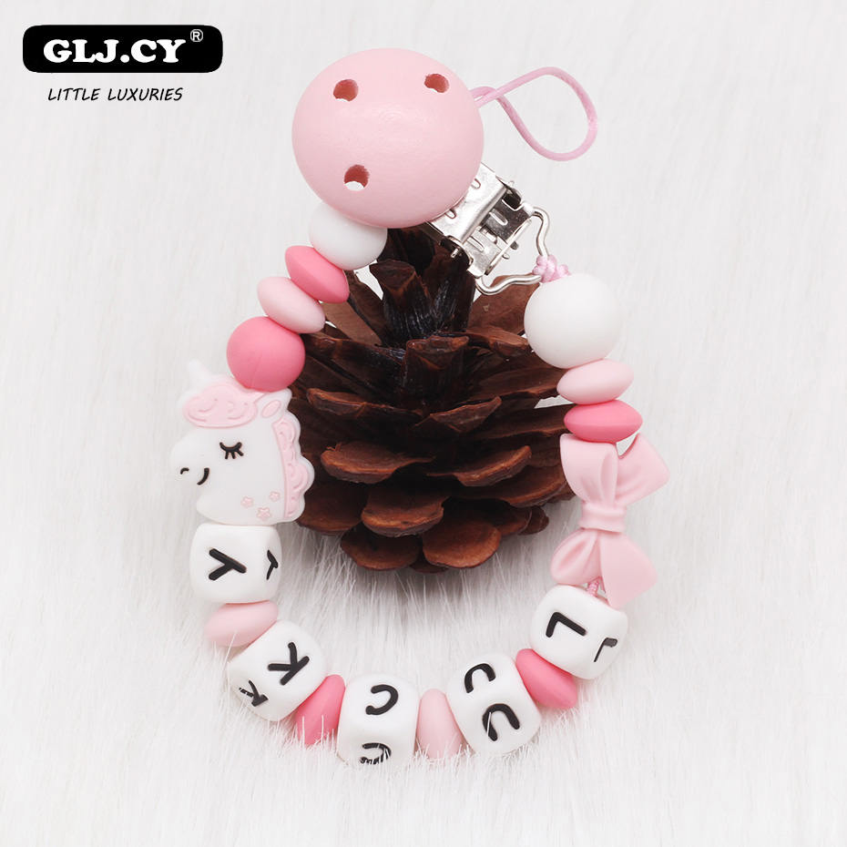 2019 New Personalized Name Cute Koala Silicone Beads DIY Baby Pacifier Clip Chain Handmade Newborn Must-have Toys Gifts