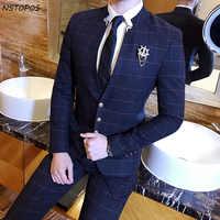 Mandarin Kragen Anzug Plaid Überprüfen Anzug Männlichen 2017 Chinesischen Kragen Anzug Business Casual Terno Slim Fit Schwarz Navy Hochzeit Dünne fit
