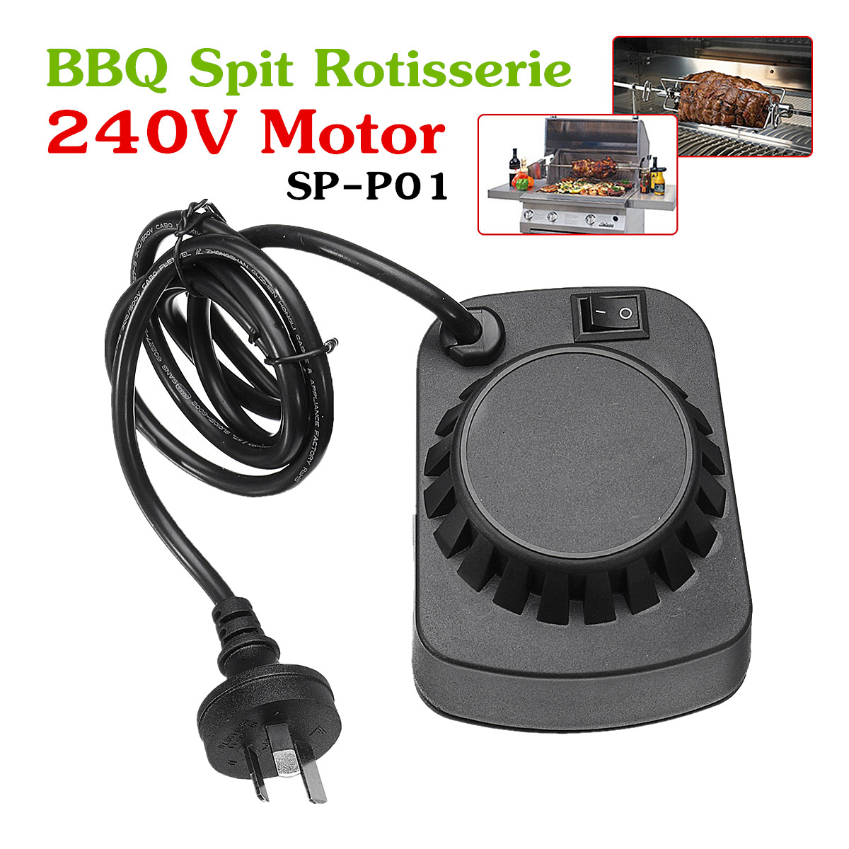 SP-P01 Barbeque BBQ Spit Rotisserie 240V Motor For Roasted Lambs Piglets Chicken AU Plug 2-3R.P.M SpeedSP-P01 Barbeque BBQ Spit Rotisserie 240V Motor For Roasted Lambs Piglets Chicken AU Plug 2-3R.P.M Speed