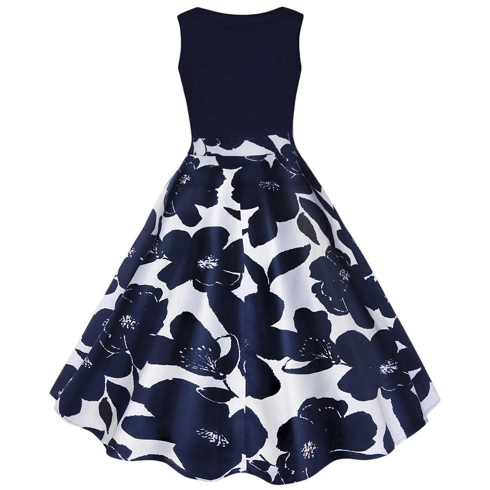 Женское винтажное расклешенное платье миди с цветочным принтом больших размеров 5XL 2019, летние вечерние платья vestidos, женские ретро платья