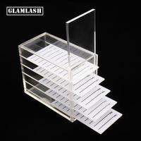 GLAMLASH false eyelash extension display stand acrylic 5 Layers Pallet Lash display Holder eyelashes Storage Box container