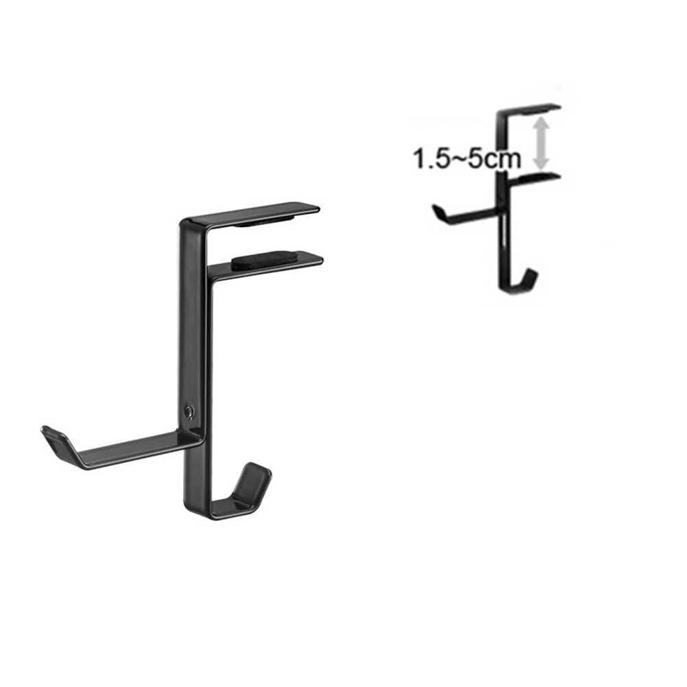1pc Beautiful And Generous Universal Headphone Desktop Mount Metal Holder Hanger Hook Headset Shelf Rack Earphones Stand (Black)