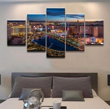 Canvas Picture Wall Art Frame Print Poster 5 Pieces Cityscape Las Vegas Night Skyscraper Painting Home Decor For Living Room