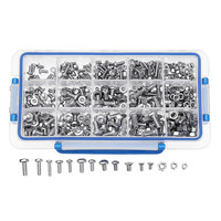 Sliver 480Pcs MXST2 M4 M5 M6 Torx Screw Pan&Flat Head High Quality 304 Stainless Steel Bolt Assortment with Storage Box