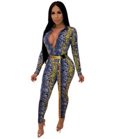 Women's Snake Print Jumpsuits High Waist Long Pants Casual Rompers Bodysuit Long Sleeve