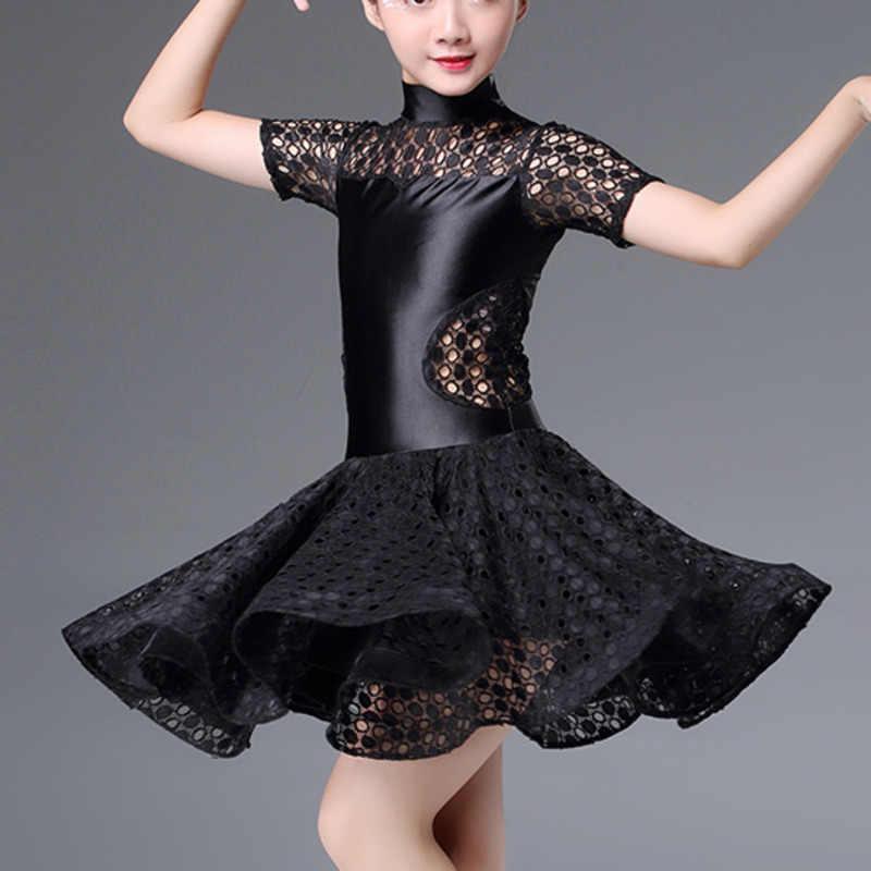 Сексуальное кружевное платье для латинских танцев для девочек, детская одежда для соревнований, бальных танцев, самбы, детская юбка для сальсы, танго, танцев, тренировочная одежда для ча-ча