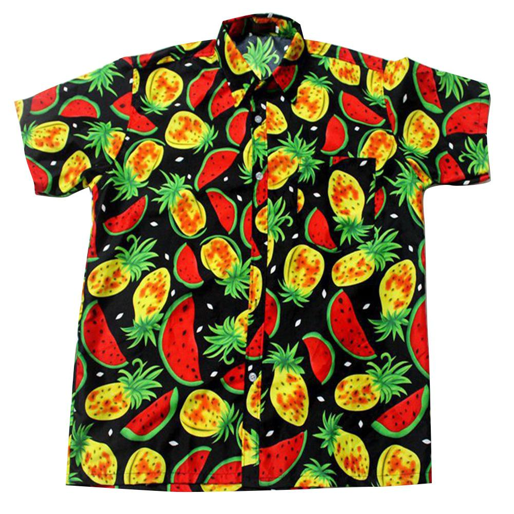 MISSKY 2019 New Men Women Shirt Couple Hawaiian Summer Fruit Printed Short Sleeve Shirt
