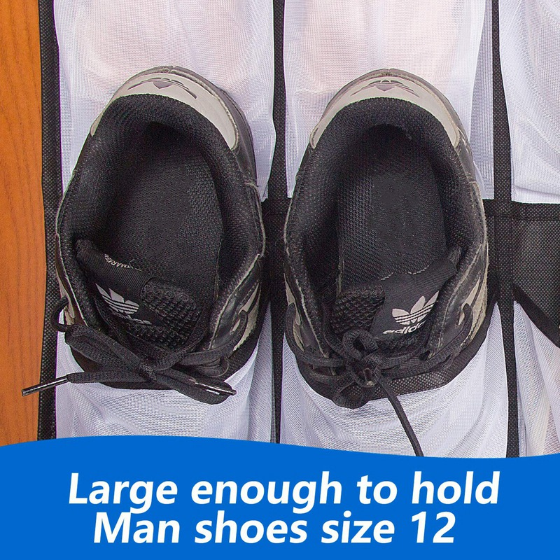 Clear Hanging Shoe Organizer Over The Door 24 Large Pockets to Keep Shoes and Bottles 4