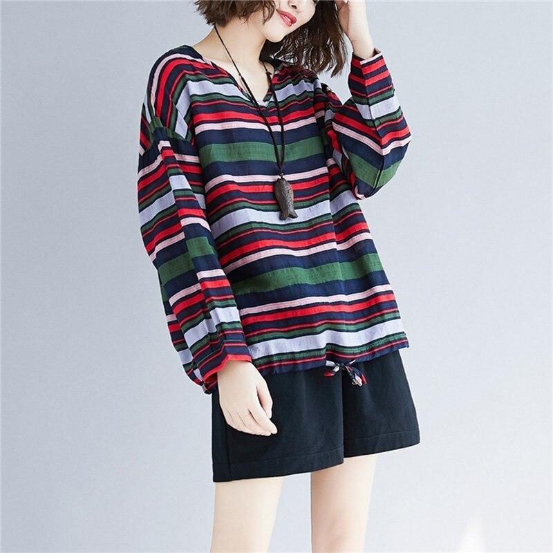 Doornot Oversized Striped Woman Tops & Tees V neck Long sleeve Ladies Tshirts Fashion Loose Drawstring Linen Women T-shirt 2