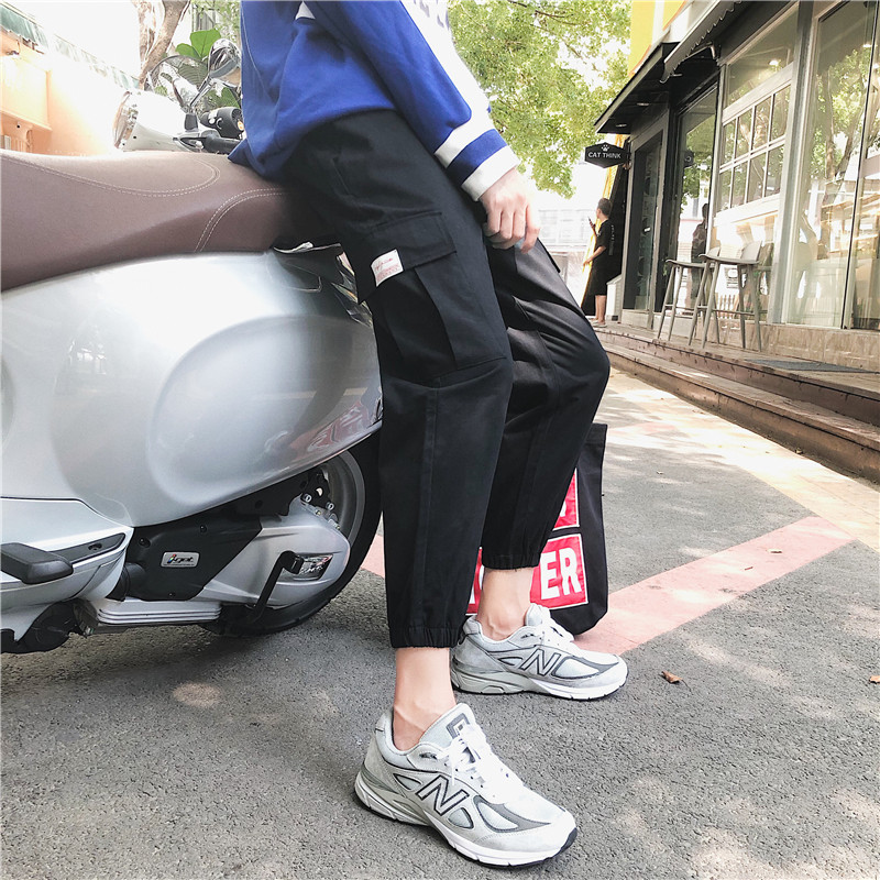 2019 Spring And Autumn New Korean Version Of The Port Wind Labeling Overalls Leggings Casual Pants Black / Khaki M-2XL